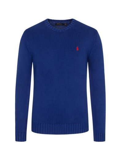 Pullover im Baumwoll-Strick, O-Neck in ROYAL