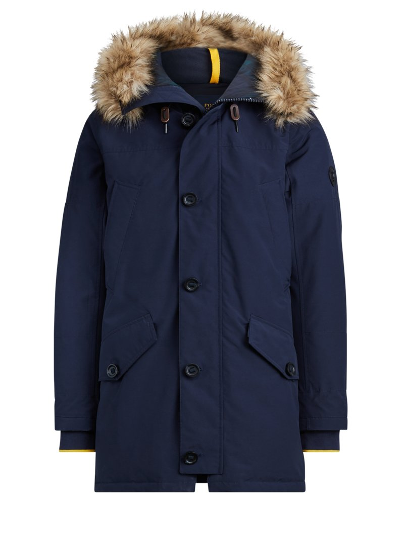 Polo Ralph Lauren Stylish parka with faux fur trim MARINE in plus size