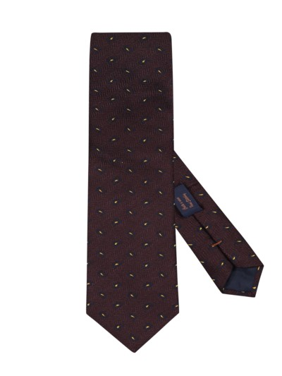 Tie in a silk blend v BROWN