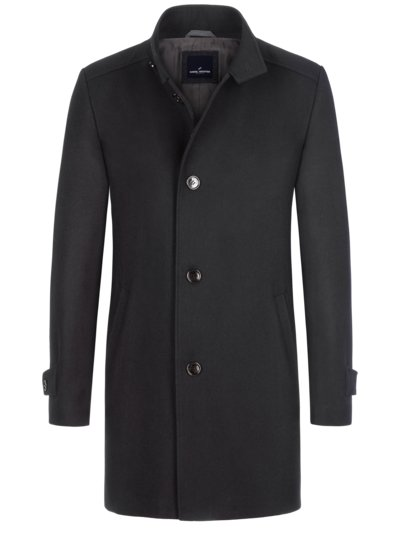 Classic wool coat with standing collar v BLACK
