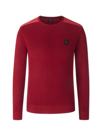 Wool blend sweater with elbow patches v RED