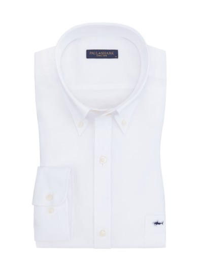 Shirt in Oxford texture with breast pocket v WHITE