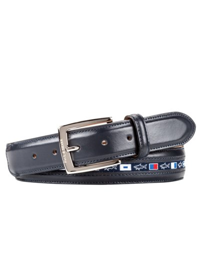 Casual belt with flag embroidery v MARINE