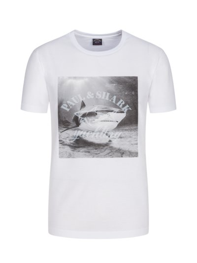 T-shirt with shark print on the front v WHITE
