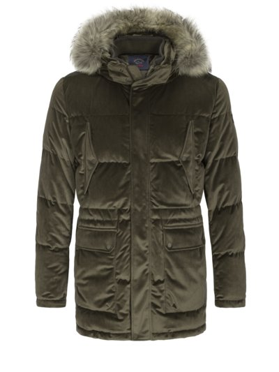 High-quality down jacket in fine corduroy v OLIVE-