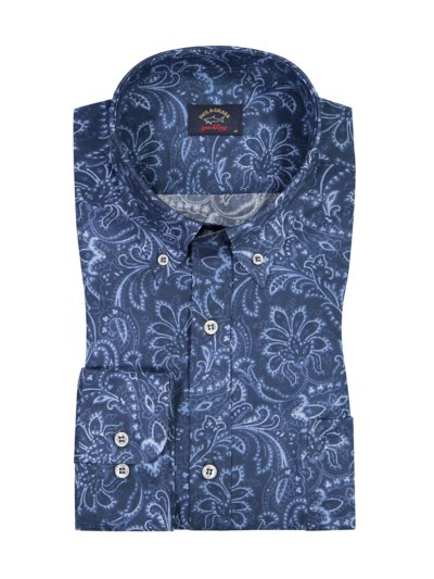 Casual shirt with paisley print v BLUE