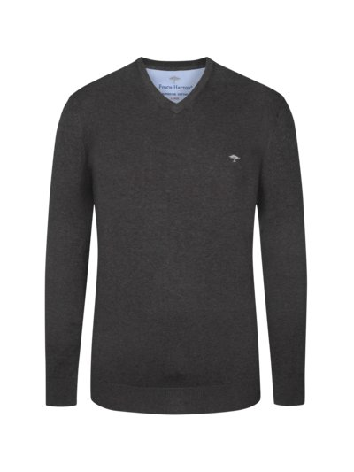 Sweater, V-neck, in 3-ply cotton v ANTHRACITE