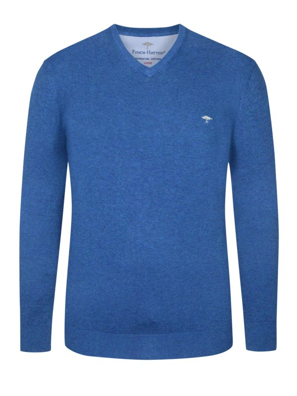 Fynch Hatton Sweater in 3 ply cotton, extra long royal