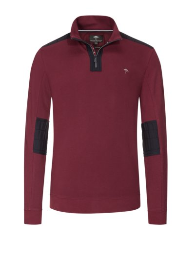 Sweatshirt mit Troyer-Kragen und Ellenbogenpatches in BORDEAUX