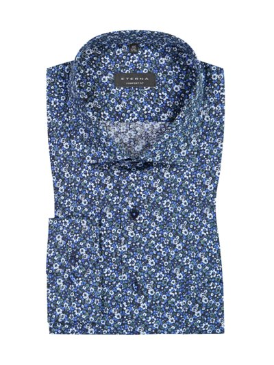 Shirt with floral pattern and breast pocket, Comfort Fit v BLUE