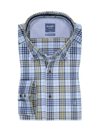 Casual flannel shirt in a modern fit with check pattern v GREEN