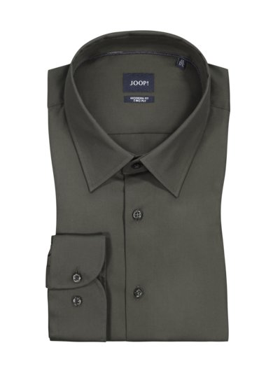 Shirt in two-ply cotton, Modern Fit v OLIVE-