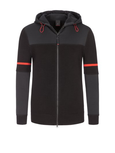 Running jacket in a wool blend, Charly v BLACK