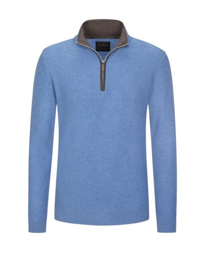 Cashmere troyer with elbow patches v LIGHT BLUE