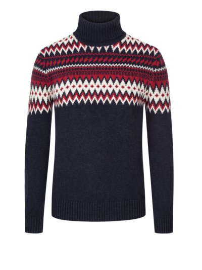 Turtleneck lambswool sweater, Norwegian pattern v MARINE