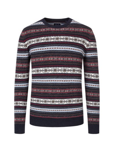 Pullover, O-Neck, im Norweger-Muster in MARINE