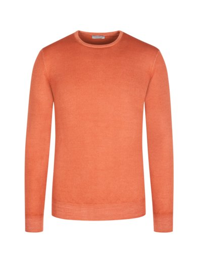 Pullover, Washed-Look, O-Neck in ORANGE