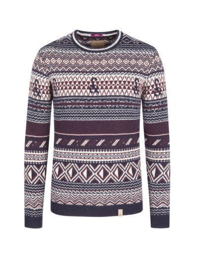 Sweater with Norwegian pattern v MARINE