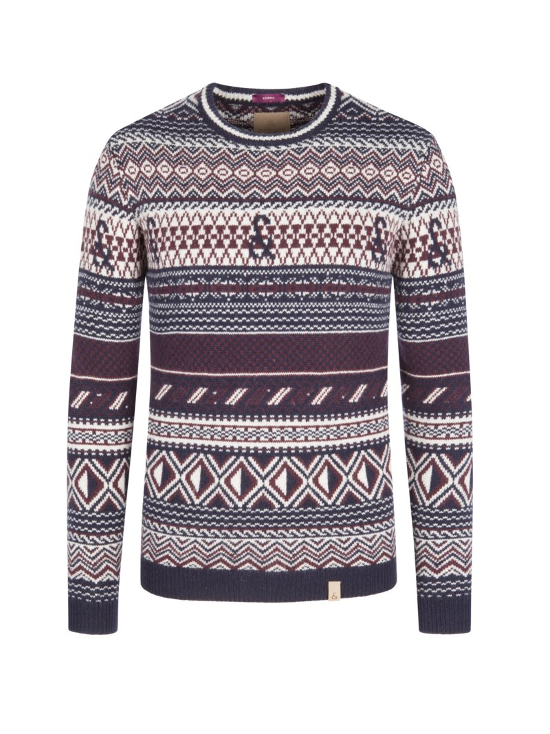 Colours & Sons Sweater with Norwegian pattern MARINE in plus size