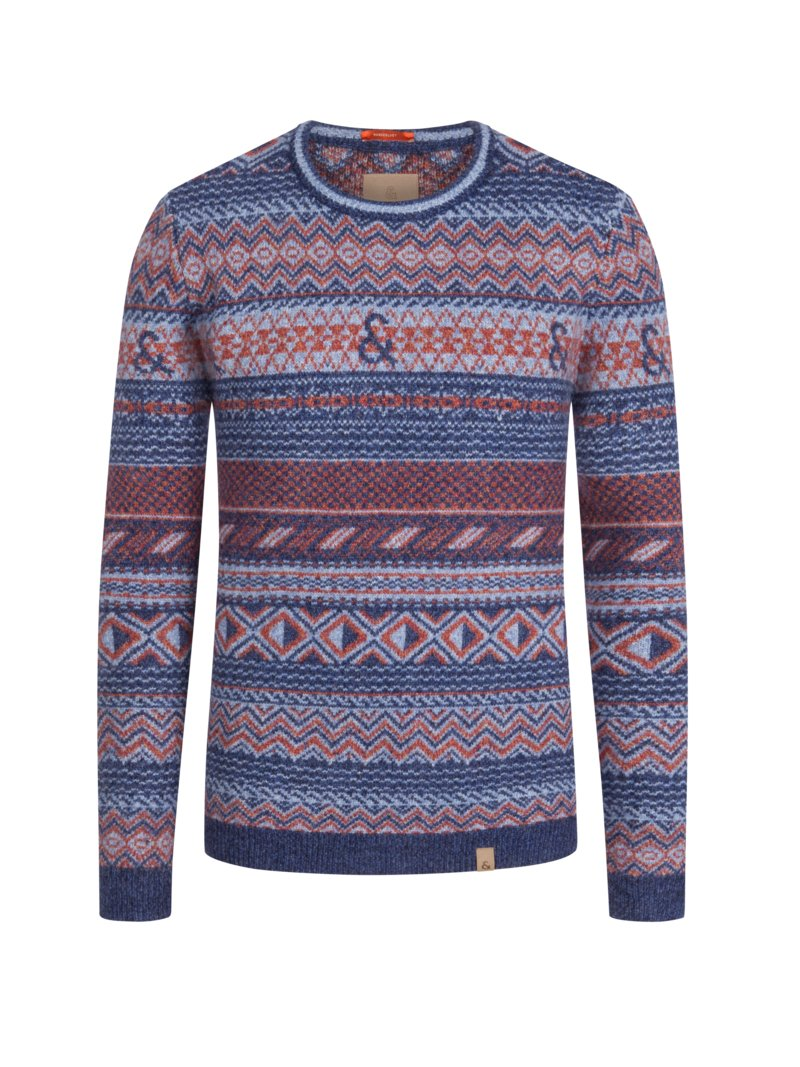 Colours & Sons Pullover im Norweger-Muster, Extralang BLAU in Übergröße