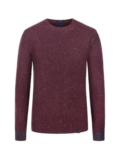 Sweater in a moss stitch knit, extra long v BORDEAUX