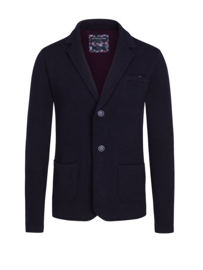 Knit blazer in wool blend v MARINE
