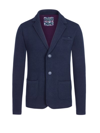 Knit blazer in a wool blend, extra-long v MARINE
