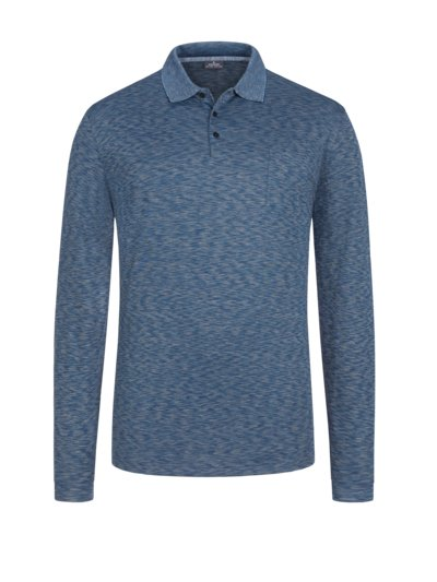 Mottled sweatshirt with polo collar v BLUE