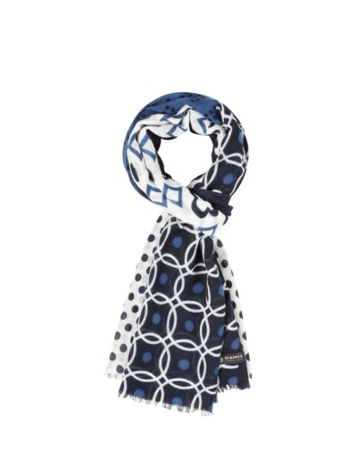 Scarf with different patterns v BLUE