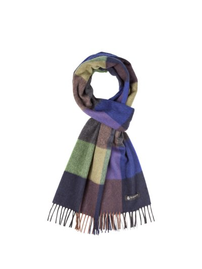 Checked wool scarf v GREEN