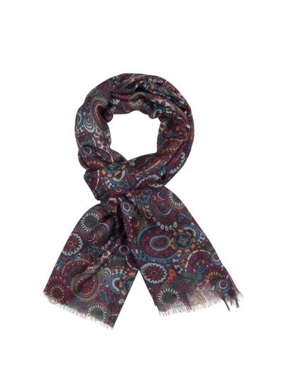 Patterned wool scarf v RED
