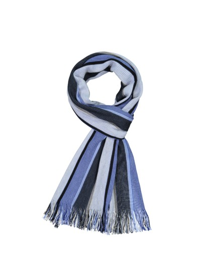 Wool scarf with block stripes v BLUE