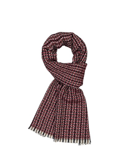 Wool scarf with stylish woven pattern v RED