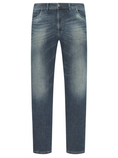Modische Used-Jeans mit Kontrastnähten, Modern Fit, Bill-8B in BLAU