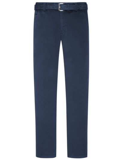 Cotton chinos with a minimalistic pattern and practical belt v BLUE