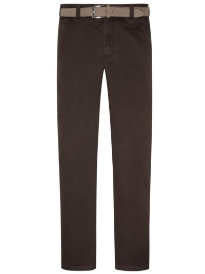 Stylish chinos with a minimalistic pattern and practical belt, Palermo v BROWN