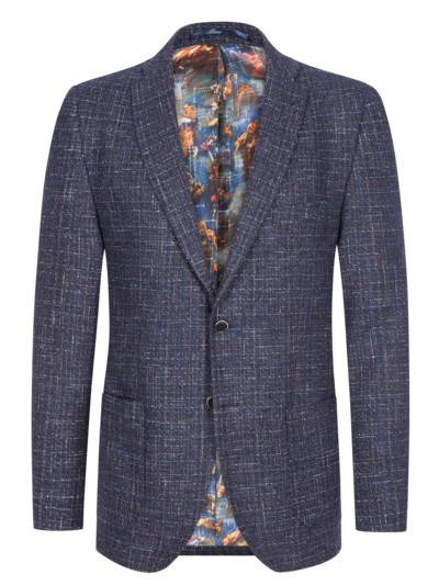 Blazer with a trendy textured pattern in a virgin wool blend v BLUE
