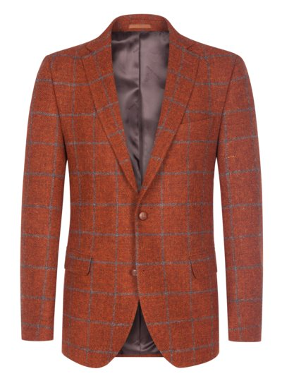 Sakko im Harris Tweed, mit Ellenbogenpatches in ORANGE