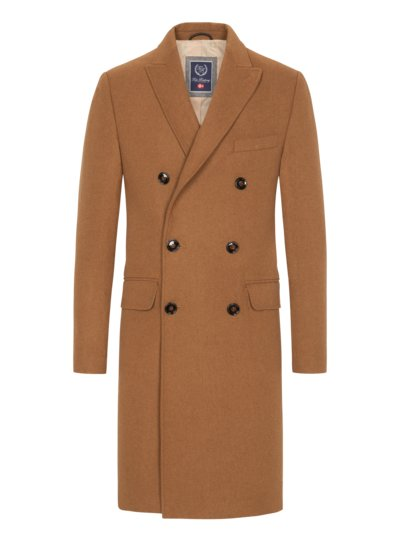 Classic double-breasted coat, in wool blend v CAMEL
