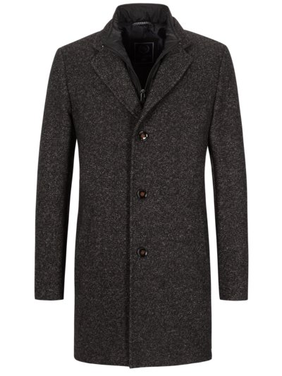 Coat with yoke in a mottled design v ANTHRACITE