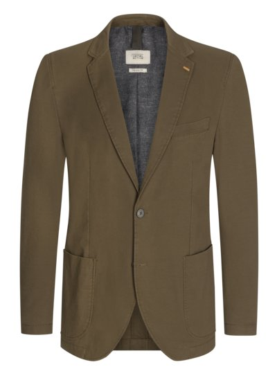 Cotton blazer with micro pattern v COGNAC