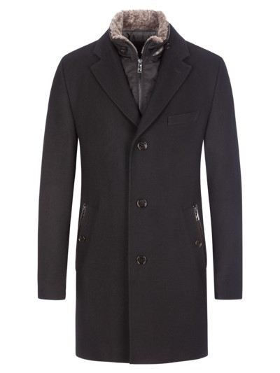 Wool coat with removable yoke v BLACK