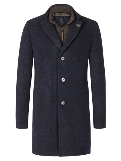 Coat in a wool blend with a fine micro texture v BLUE