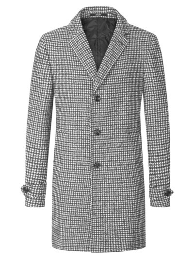 Stylish coat with houndstooth pattern v GREY