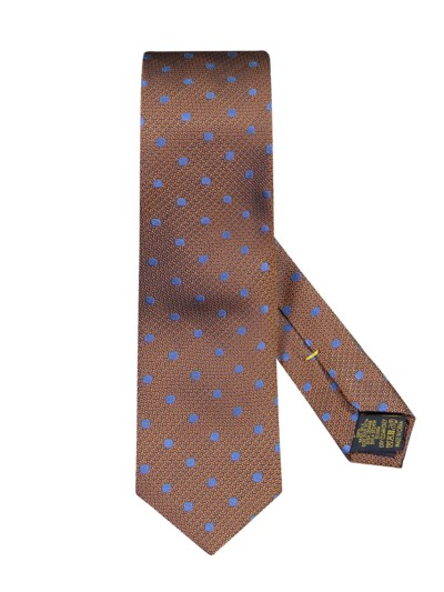 Silk tie with dot pattern v BRASS