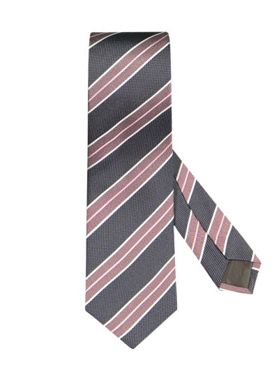 Silk tie with a stripe pattern v GREY
