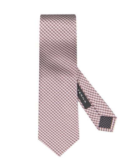 Silk tie with micro check v ROSE
