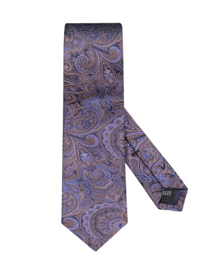 Silk tie with a paisley pattern v BROWN