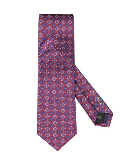 Silk tie with an elegant pattern v RED