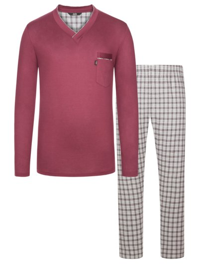 Schlafanzug mit light-flannel Hose in BORDEAUX